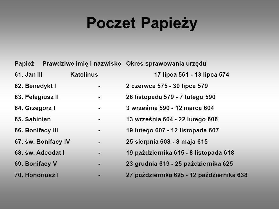 Poczet Papieży PapieżPrawdziwe imię i nazwiskoOkres sprawowania urzędu 71.