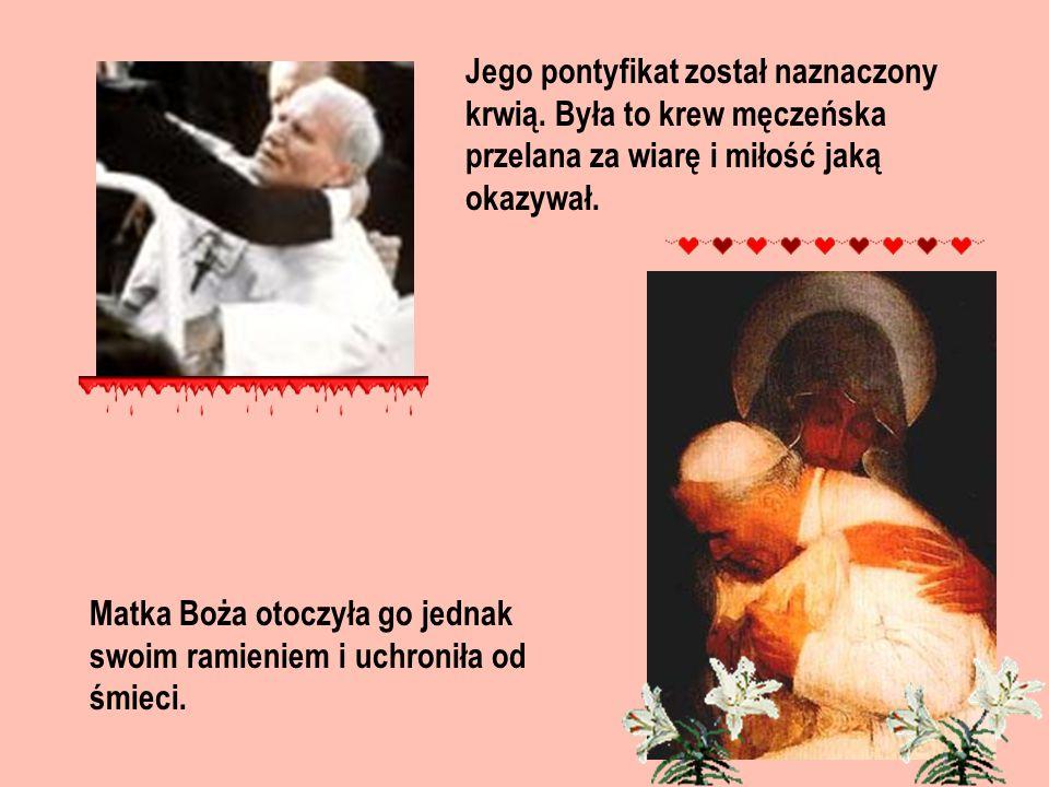 Jego pontyfikat został naznaczony krwią. Była to krew męczeńska przelana za wiarę i miłość jaką okazywał. Matka Boża otoczyła go jednak swoim ramienie