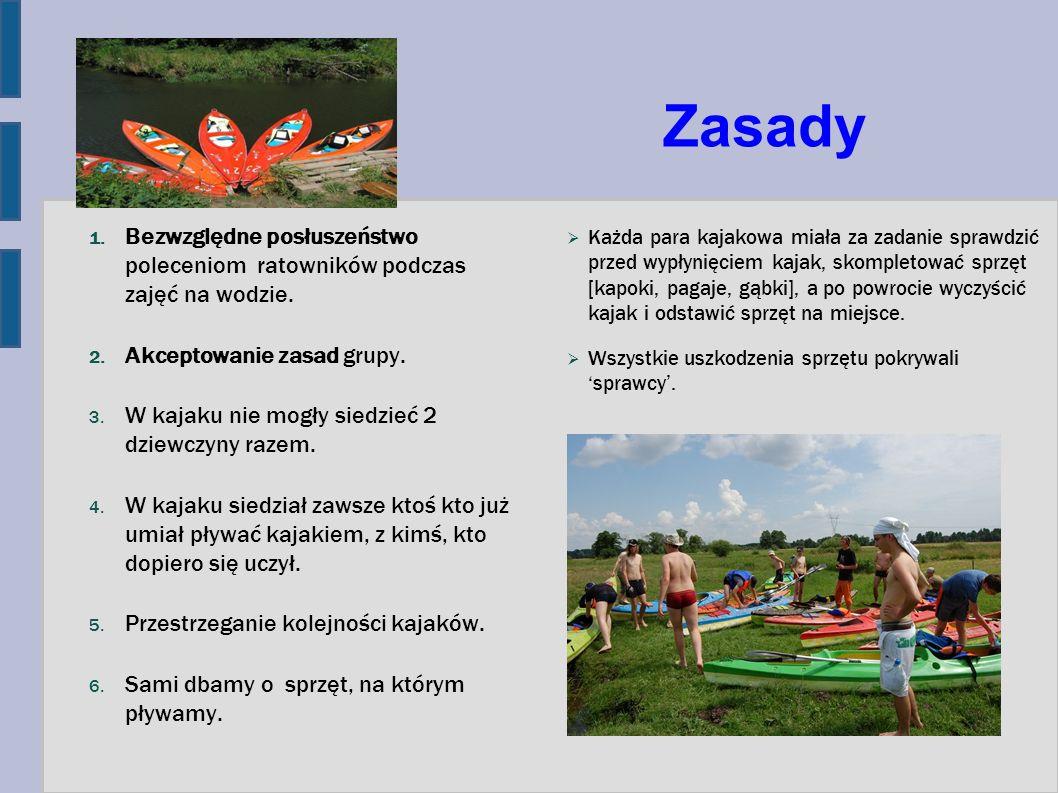 Zasady 1. Bezwzględne posłuszeństwo poleceniom ratowników podczas zajęć na wodzie. 2. Akceptowanie zasad grupy. 3. W kajaku nie mogły siedzieć 2 dziew