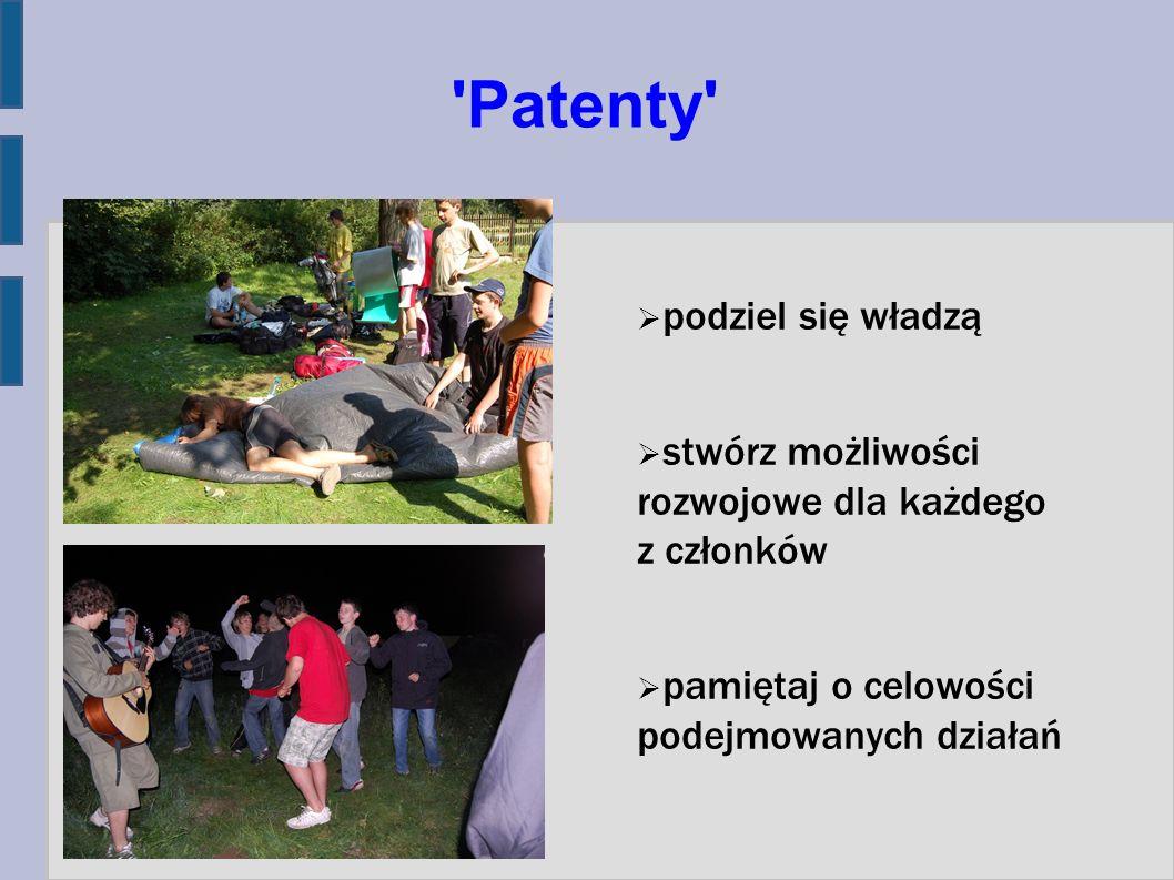 'Patenty' podziel się władzą stwórz możliwości rozwojowe dla każdego z członków pamiętaj o celowości podejmowanych działań