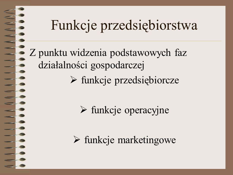 Funkcje przedsiębiorstwa Z punktu widzenia podstawowych faz działalności gospodarczej funkcje przedsiębiorcze funkcje operacyjne funkcje marketingowe