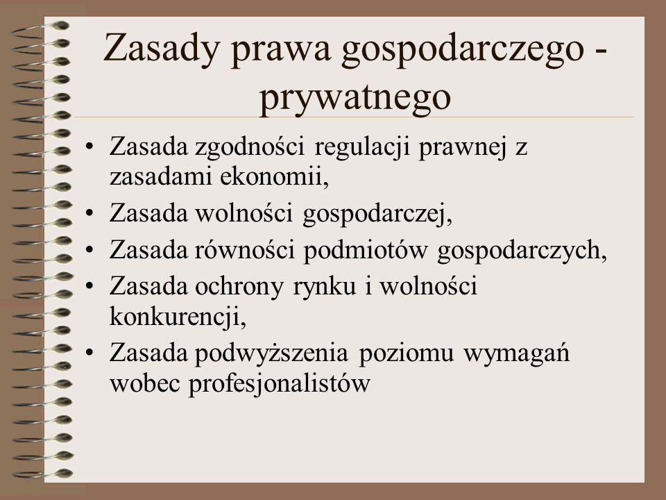 Zasady prawa gospodarczego - prywatnego Zasada zgodności regulacji prawnej z zasadami ekonomii, Zasada wolności gospodarczej, Zasada równości podmiotó