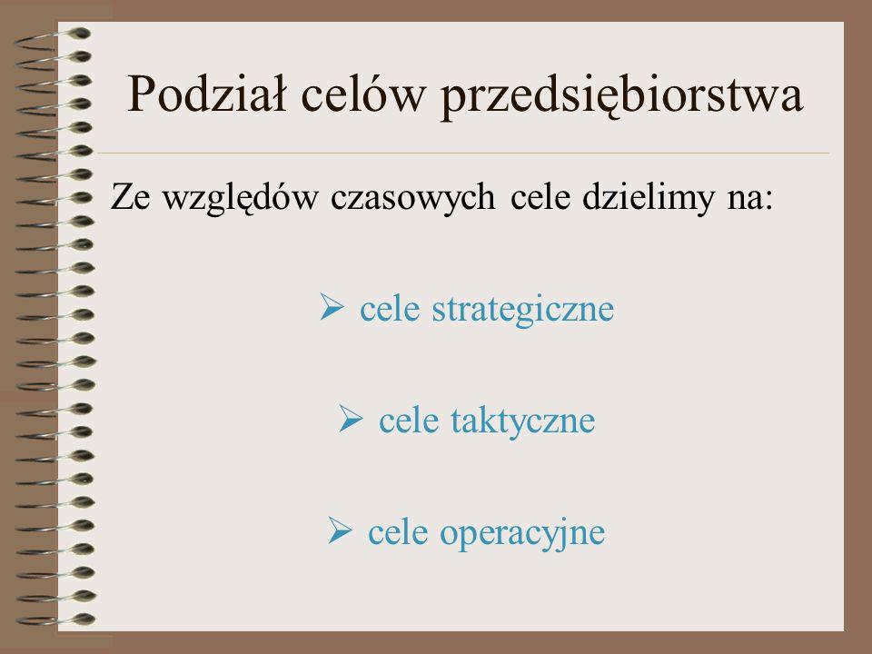 Podział celów przedsiębiorstwa Ze względów czasowych cele dzielimy na: cele strategiczne cele taktyczne cele operacyjne
