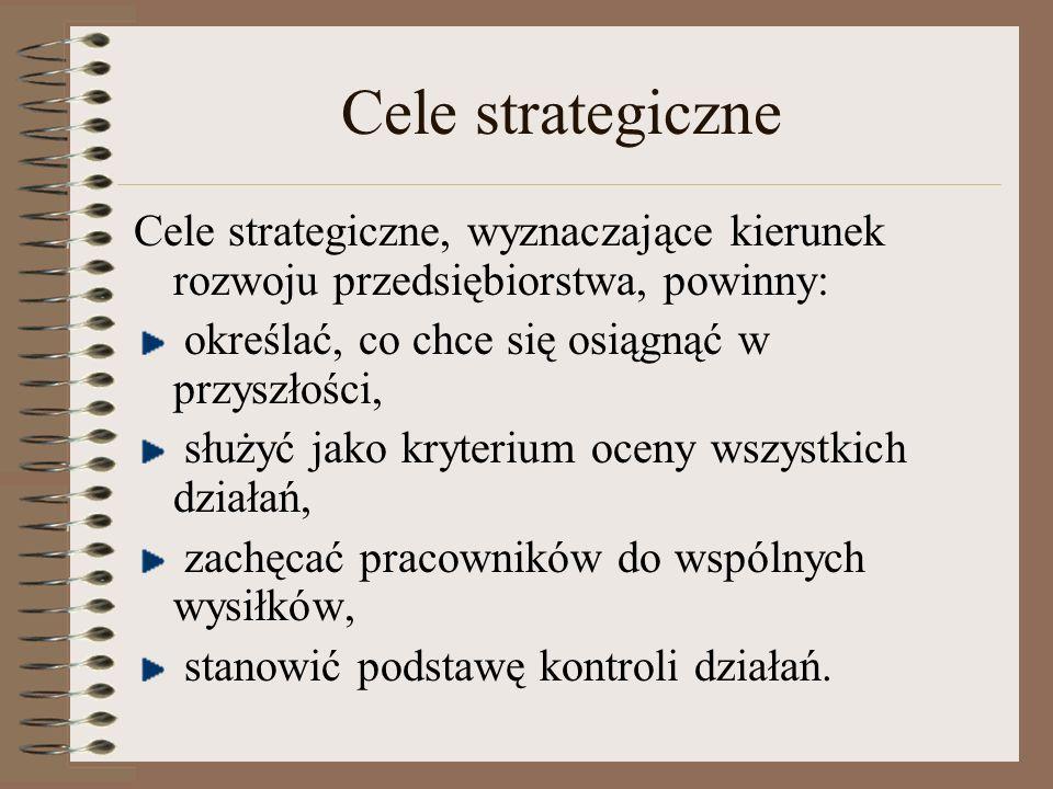 Cele strategiczne Cele strategiczne, wyznaczające kierunek rozwoju przedsiębiorstwa, powinny: określać, co chce się osiągnąć w przyszłości, służyć jak