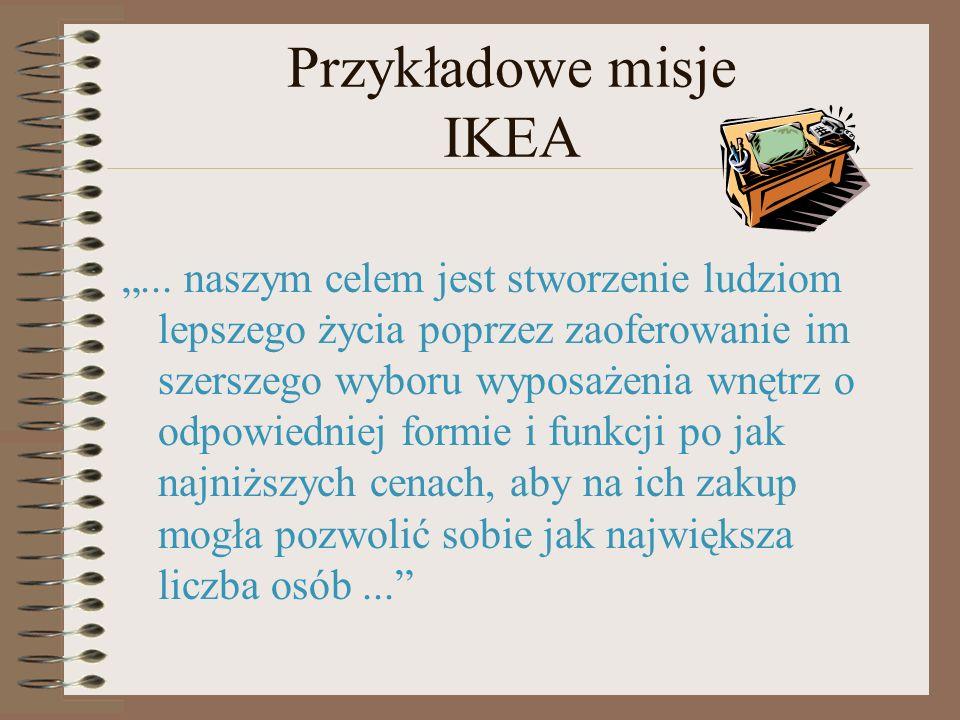 Przykładowe misje IKEA... naszym celem jest stworzenie ludziom lepszego życia poprzez zaoferowanie im szerszego wyboru wyposażenia wnętrz o odpowiedni