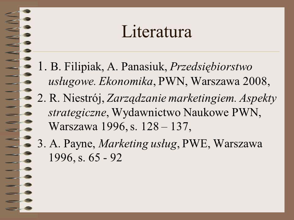 Literatura 1. B. Filipiak, A. Panasiuk, Przedsiębiorstwo usługowe. Ekonomika, PWN, Warszawa 2008, 2. R. Niestrój, Zarządzanie marketingiem. Aspekty st