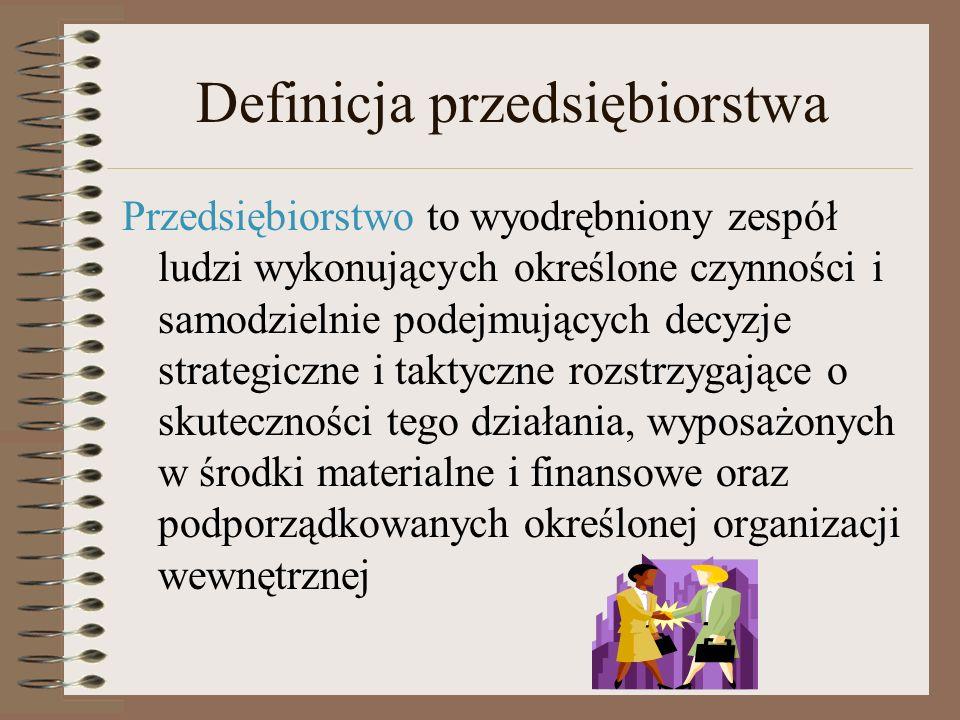 Definicja przedsiębiorstwa Przedsiębiorstwo może być postrzegane jako jednostka: organizacyjna prawna ekonomiczna