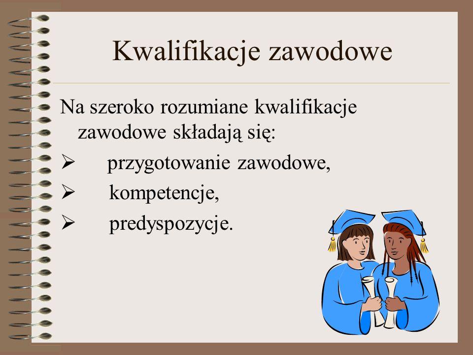 Kwalifikacje zawodowe Na szeroko rozumiane kwalifikacje zawodowe składają się: przygotowanie zawodowe, kompetencje, predyspozycje.