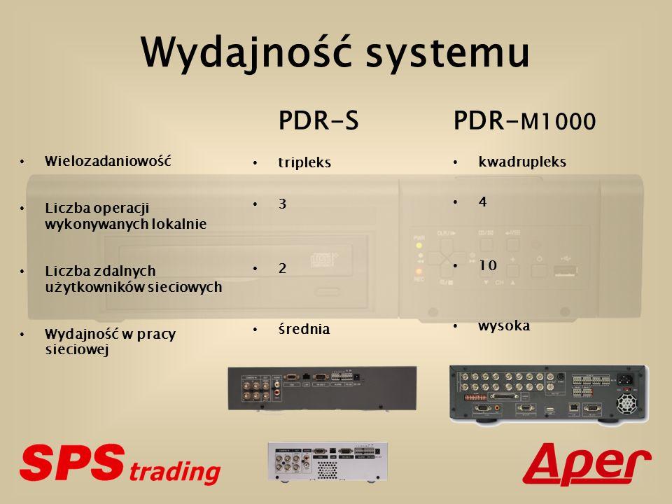 Wydajność systemu Wielozadaniowość Liczba operacji wykonywanych lokalnie Liczba zdalnych użytkowników sieciowych Wydajność w pracy sieciowej PDR-S tripleks 3 2 średnia PDR- M1000 kwadrupleks 4 10 wysoka