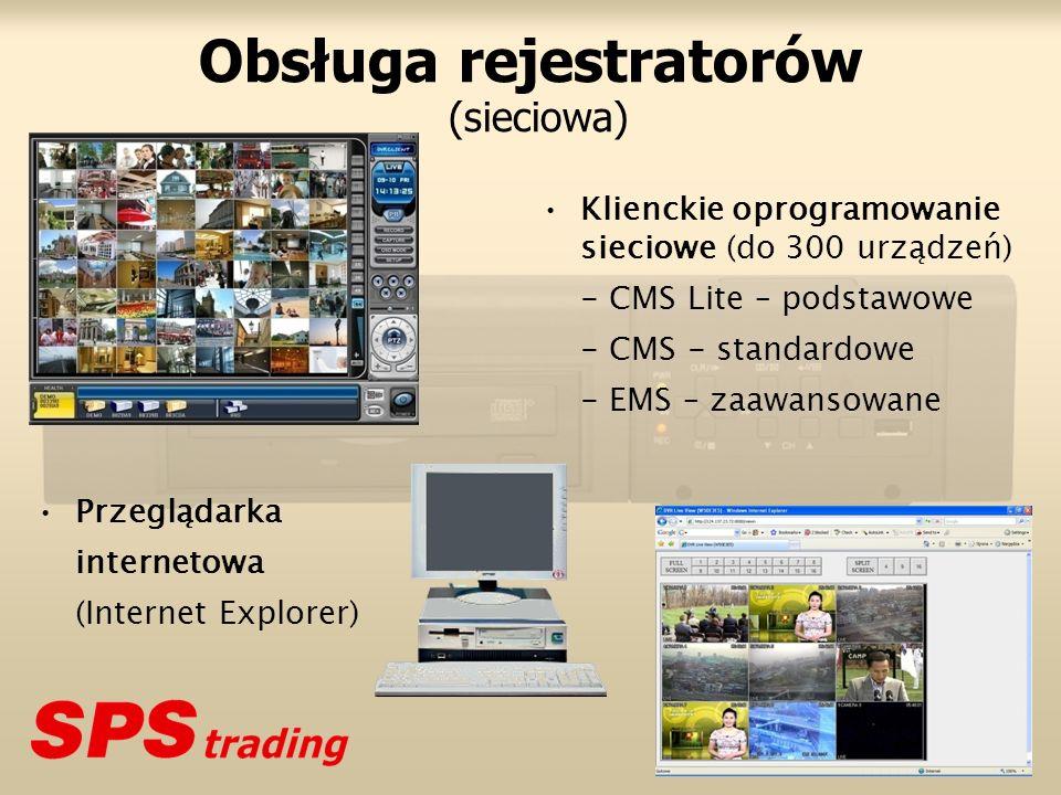 Obsługa rejestratorów (sieciowa) Klienckie oprogramowanie sieciowe (do 300 urządzeń) - CMS Lite – podstawowe - CMS - standardowe - EMS – zaawansowane Przeglądarka internetowa (Internet Explorer)