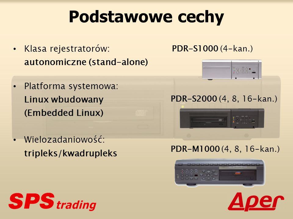 Podstawowe cechy Klasa rejestratorów: autonomiczne (stand-alone) Platforma systemowa: Linux wbudowany (Embedded Linux) Wielozadaniowość: tripleks/kwadrupleks PDR-S1000 (4-kan.) PDR-S2000 (4, 8, 16-kan.) PDR-M1000 (4, 8, 16-kan.)