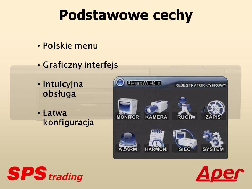 Parametry podstawowe Maksymalna prędkość rejestracji: 100 kl./s Metoda kompresji: MPEG-4 Rozdzielczość telewizyjna: 420 TVL Rozdzielczości cyfrowe: 4CIF (FRAME)720 x 576 pikseli 2CIF (FIELD)720 x 288 pikseli CIF (QUAD)360 x 288 pikseli