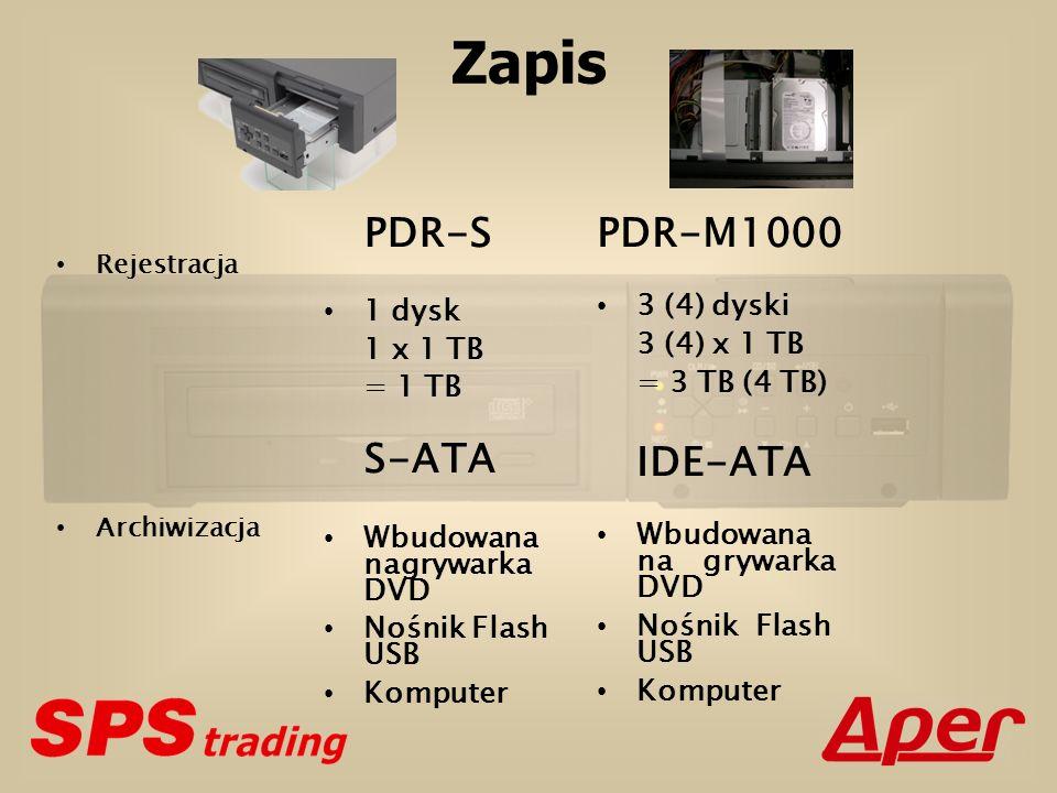 Zapis Rejestracja Archiwizacja PDR-S 1 dysk 1 x 1 TB = 1 TB S-ATA Wbudowana nagrywarka DVD Nośnik Flash USB Komputer PDR-M1000 3 (4) dyski 3 (4) x 1 TB = 3 TB (4 TB) IDE-ATA Wbudowana nagrywarka DVD Nośnik Flash USB Komputer