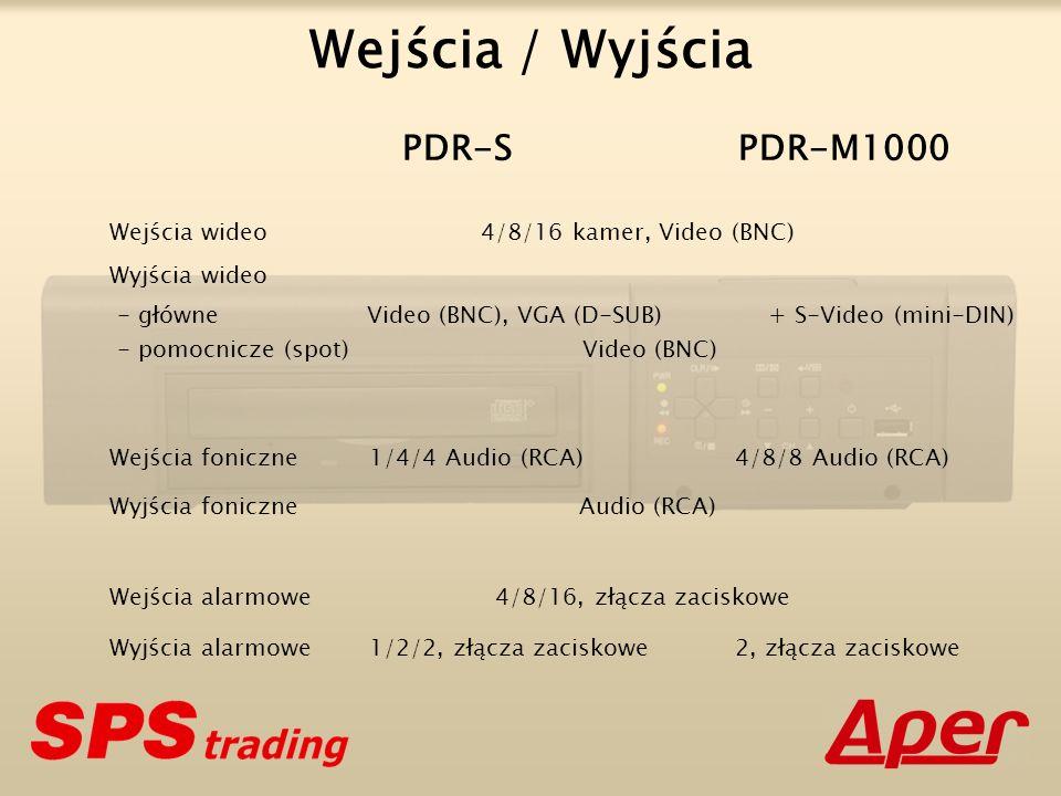 Wejścia wideo 4/8/16 kamer, Video (BNC) Wyjścia wideo Wejścia foniczne 1/4/4 Audio (RCA) 4/8/8 Audio (RCA) Wyjścia foniczne Audio (RCA) Wejścia alarmowe 4/8/16, złącza zaciskowe Wyjścia alarmowe 1/2/2, złącza zaciskowe 2, złącza zaciskowe PDR-S PDR-M1000 Wejścia / Wyjścia - główne Video (BNC), VGA (D-SUB) + S-Video (mini-DIN) - pomocnicze (spot) Video (BNC)