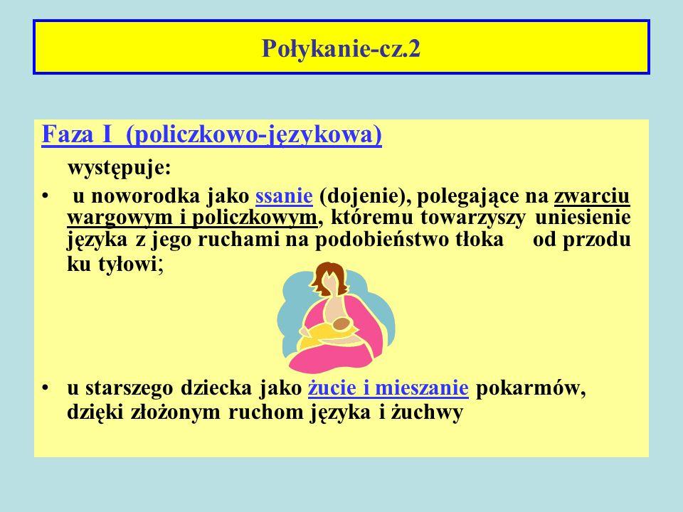 Połykanie-cz.2 Faza I (policzkowo-językowa) występuje: u noworodka jako ssanie (dojenie), polegające na zwarciu wargowym i policzkowym, któremu towarz