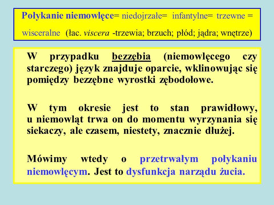 Połykanie niemowlęce = niedojrzałe= infantylne= trzewne = wisceralne (łac.