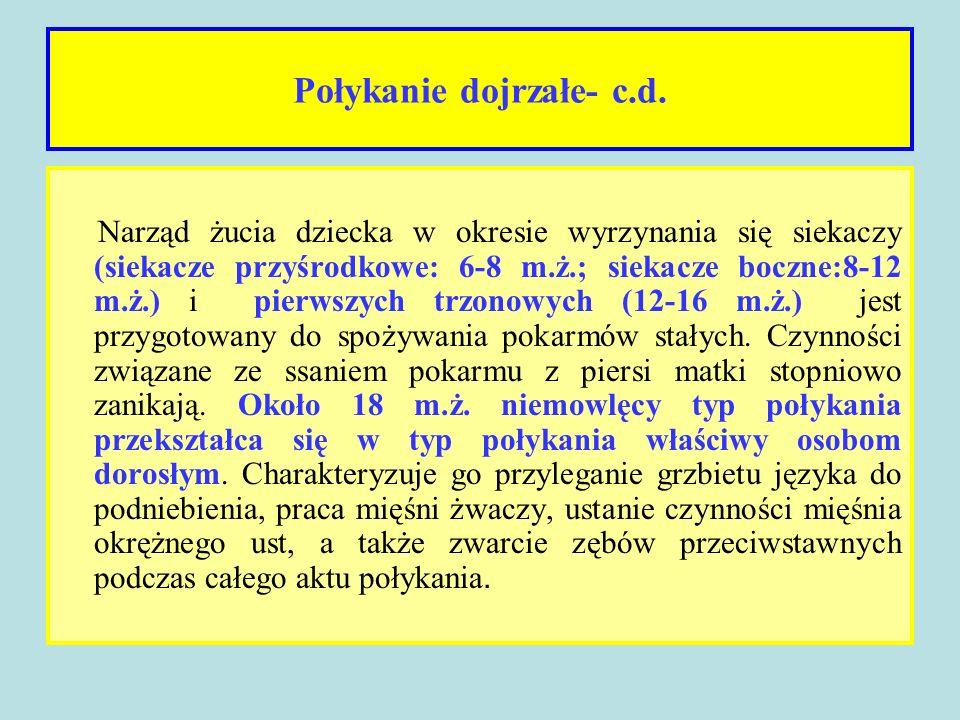 Połykanie dojrzałe- c.d. Narząd żucia dziecka w okresie wyrzynania się siekaczy (siekacze przyśrodkowe: 6-8 m.ż.; siekacze boczne:8-12 m.ż.) i pierwsz
