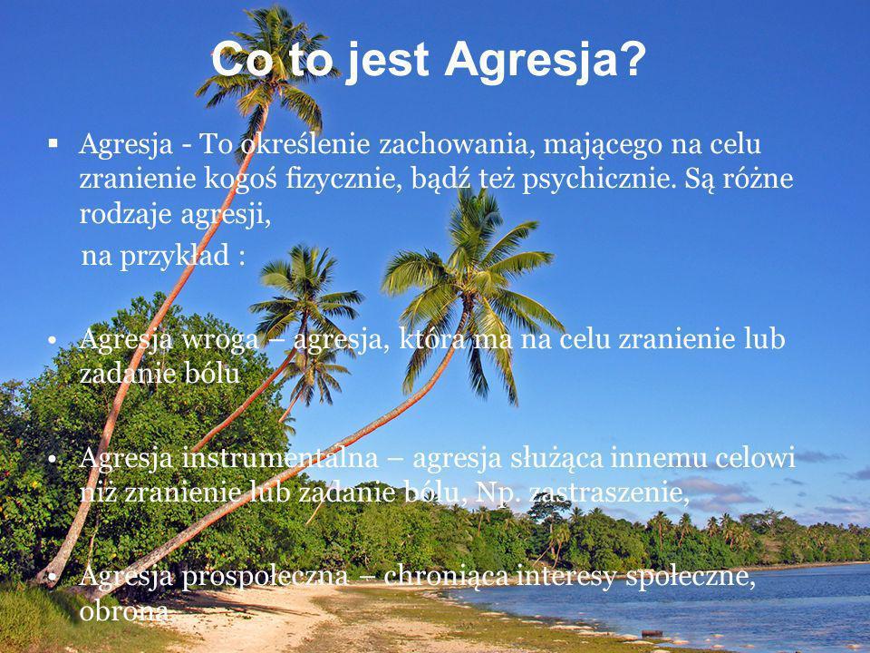 Co to jest Agresja? Agresja - To określenie zachowania, mającego na celu zranienie kogoś fizycznie, bądź też psychicznie. Są różne rodzaje agresji, na