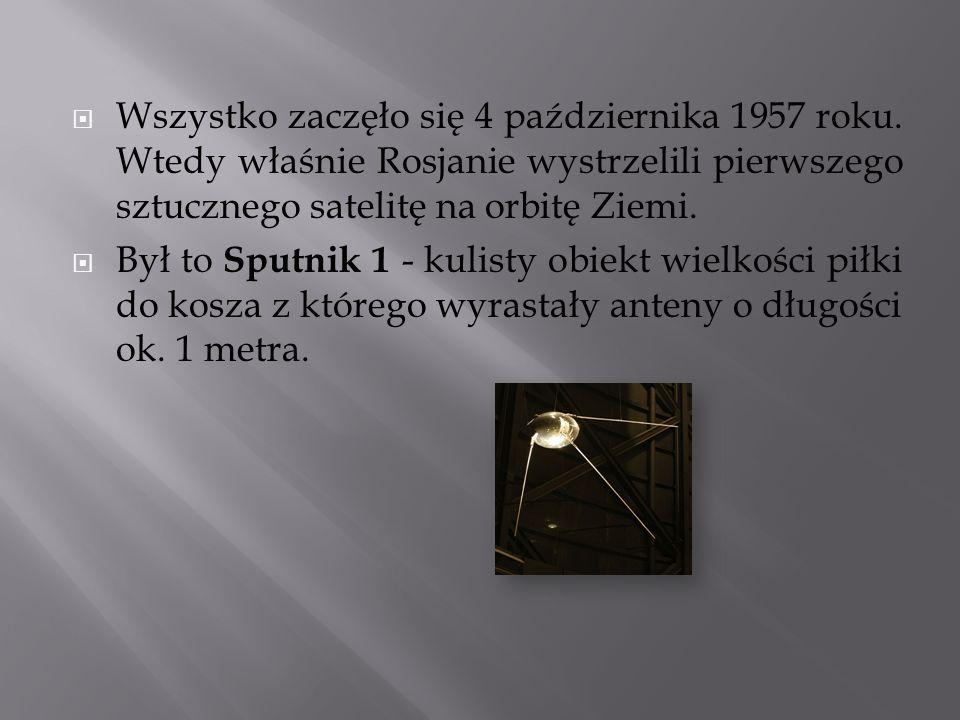 Wszystko zaczęło się 4 października 1957 roku. Wtedy właśnie Rosjanie wystrzelili pierwszego sztucznego satelitę na orbitę Ziemi. Był to Sputnik 1 - k