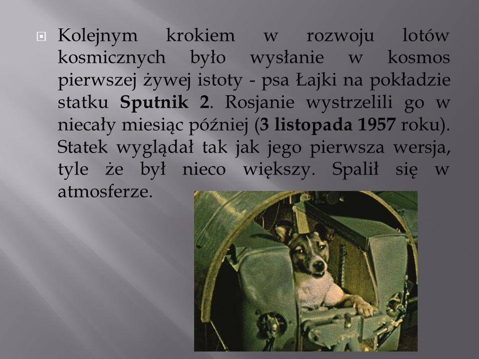 Kolejnym krokiem w rozwoju lotów kosmicznych było wysłanie w kosmos pierwszej żywej istoty - psa Łajki na pokładzie statku Sputnik 2. Rosjanie wystrze