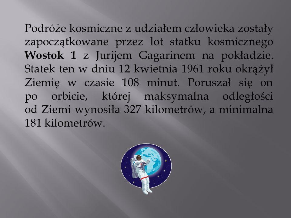 Podróże kosmiczne z udziałem człowieka zostały zapoczątkowane przez lot statku kosmicznego Wostok 1 z Jurijem Gagarinem na pokładzie. Statek ten w dni