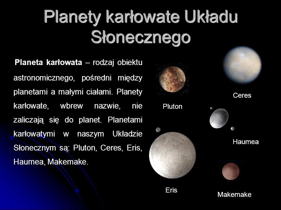 Planety karłowate Układu Słonecznego Planeta karłowata – rodzaj obiektu astronomicznego, pośredni między planetami a małymi ciałami. Planety karłowate