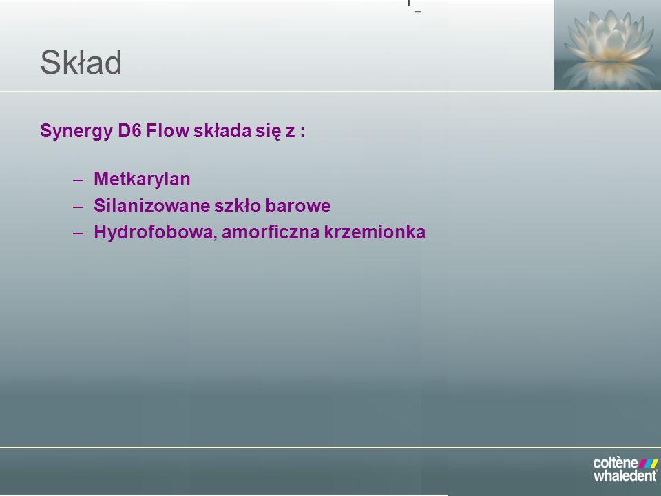 Skład Synergy D6 Flow składa się z : –Metkarylan –Silanizowane szkło barowe –Hydrofobowa, amorficzna krzemionka