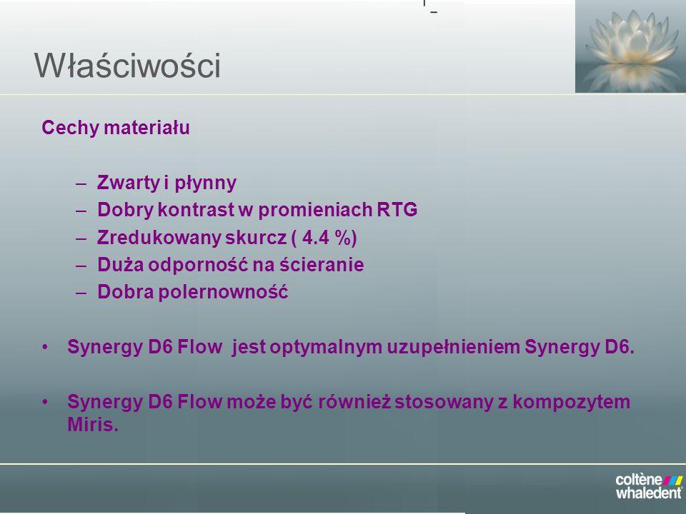 Ulepszona Formuła Główne różnice pomiędzy Synergy Flow i Synergy D6 Flow Nowy Synergy Flow – Ma bardziej zwarta konsystencję –Zredukowany skurcz –Lepszy kontrast RTG –Taka sama koncepcja kolorystyczna co w Synergy D6