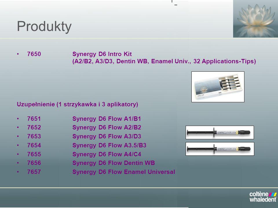 Produkty 7650Synergy D6 Intro Kit (A2/B2, A3/D3, Dentin WB, Enamel Univ., 32 Applications-Tips) Uzupełnienie (1 strzykawka i 3 aplikatory) 7651Synergy