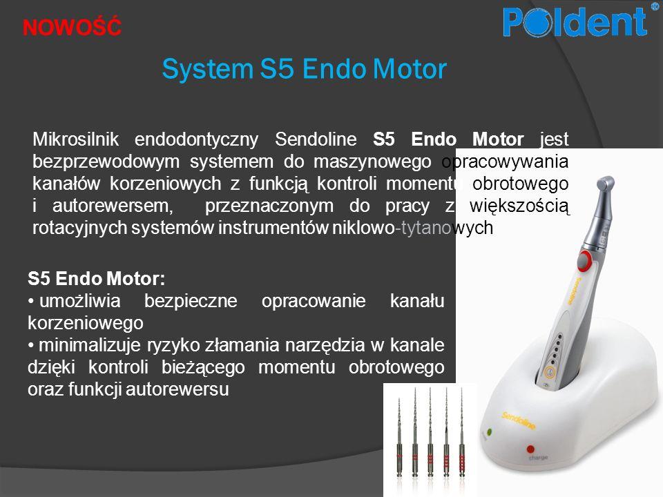 NOWOŚĆ System S5 Endo Motor Mikrosilnik endodontyczny Sendoline S5 Endo Motor jest bezprzewodowym systemem do maszynowego opracowywania kanałów korzen