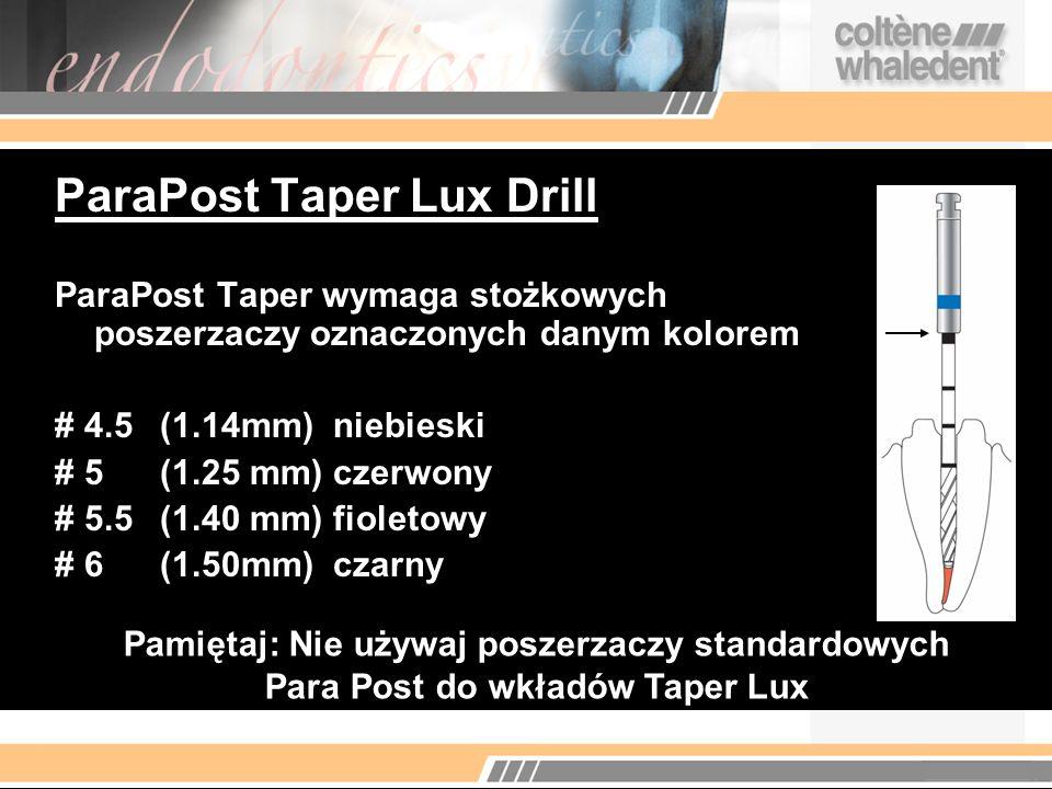 ParaPost Taper Lux Drill ParaPost Taper wymaga stożkowych poszerzaczy oznaczonych danym kolorem # 4.5(1.14mm) niebieski # 5(1.25 mm) czerwony # 5.5(1.