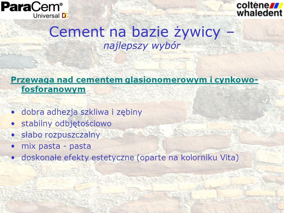 Cement na bazie żywicy – najlepszy wybór Przewaga nad cementem glasionomerowym i cynkowo- fosforanowym dobra adhezja szkliwa i zębiny stabilny odbjęto