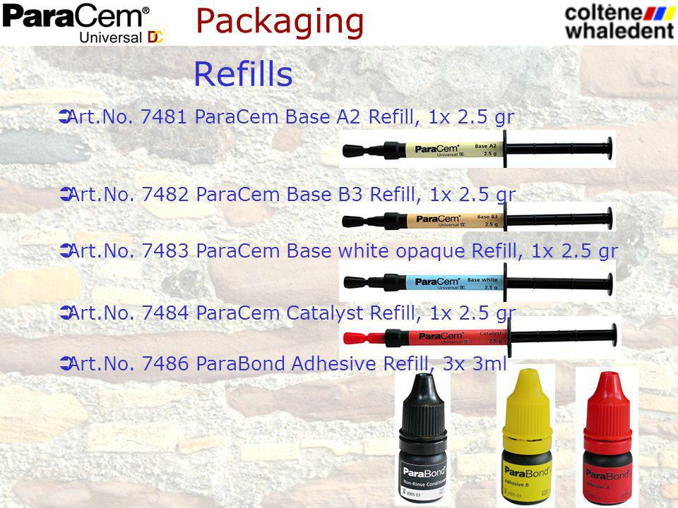 Refills Art.No. 7482 ParaCem Base B3 Refill, 1x 2.5 gr Art.No. 7483 ParaCem Base white opaque Refill, 1x 2.5 gr Art.No. 7484 ParaCem Catalyst Refill,