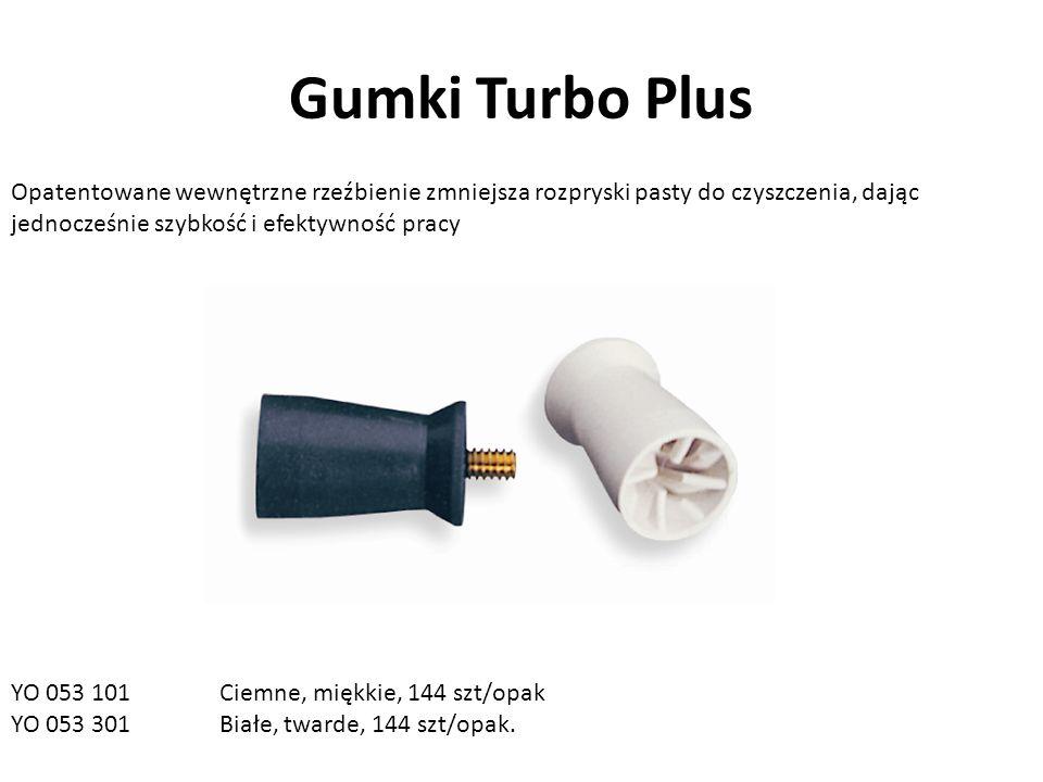 Gumki Turbo Plus Opatentowane wewnętrzne rzeźbienie zmniejsza rozpryski pasty do czyszczenia, dając jednocześnie szybkość i efektywność pracy YO 053 101 Ciemne, miękkie, 144 szt/opak YO 053 301Białe, twarde, 144 szt/opak.
