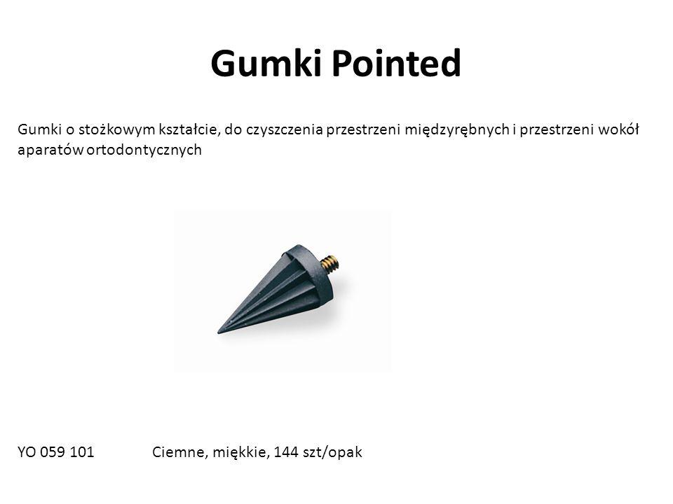 Gumki Pointed Gumki o stożkowym kształcie, do czyszczenia przestrzeni międzyrębnych i przestrzeni wokół aparatów ortodontycznych YO 059 101 Ciemne, miękkie, 144 szt/opak