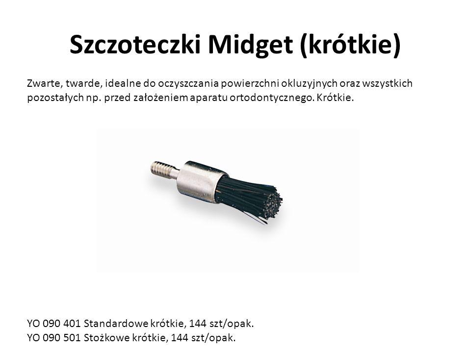 Szczoteczki Midget (krótkie) Zwarte, twarde, idealne do oczyszczania powierzchni okluzyjnych oraz wszystkich pozostałych np.