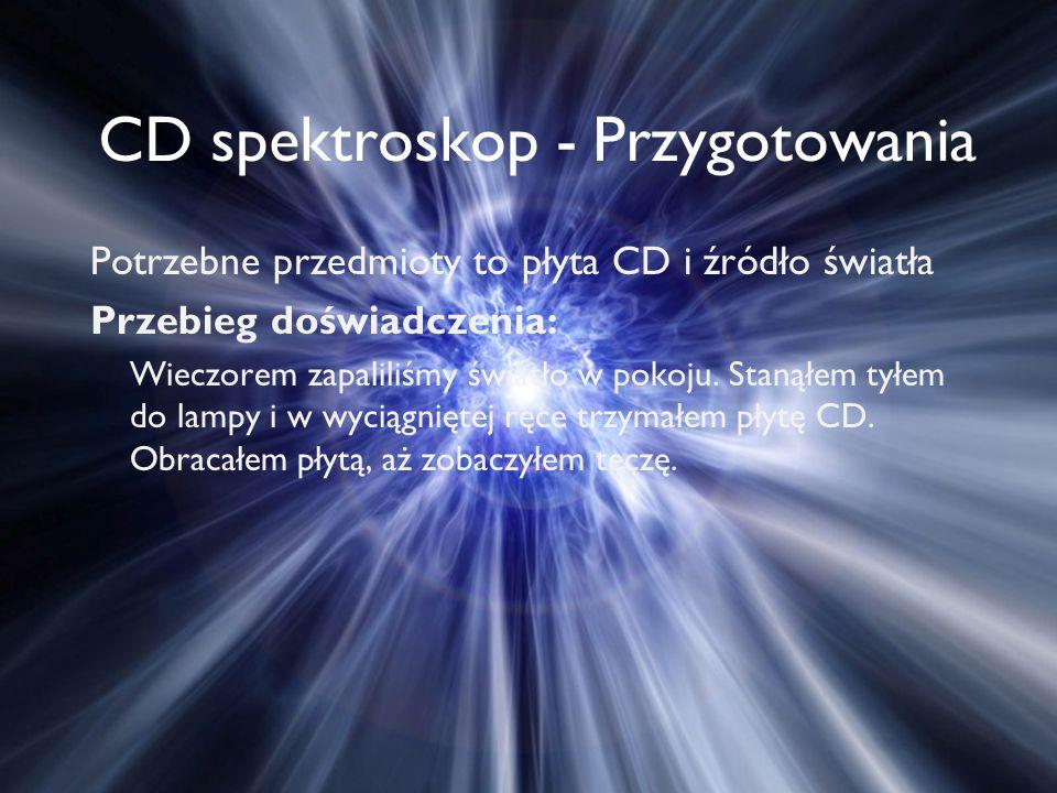 CD spektroskop - Przygotowania Potrzebne przedmioty to płyta CD i źródło światła Przebieg doświadczenia: Wieczorem zapaliliśmy światło w pokoju.