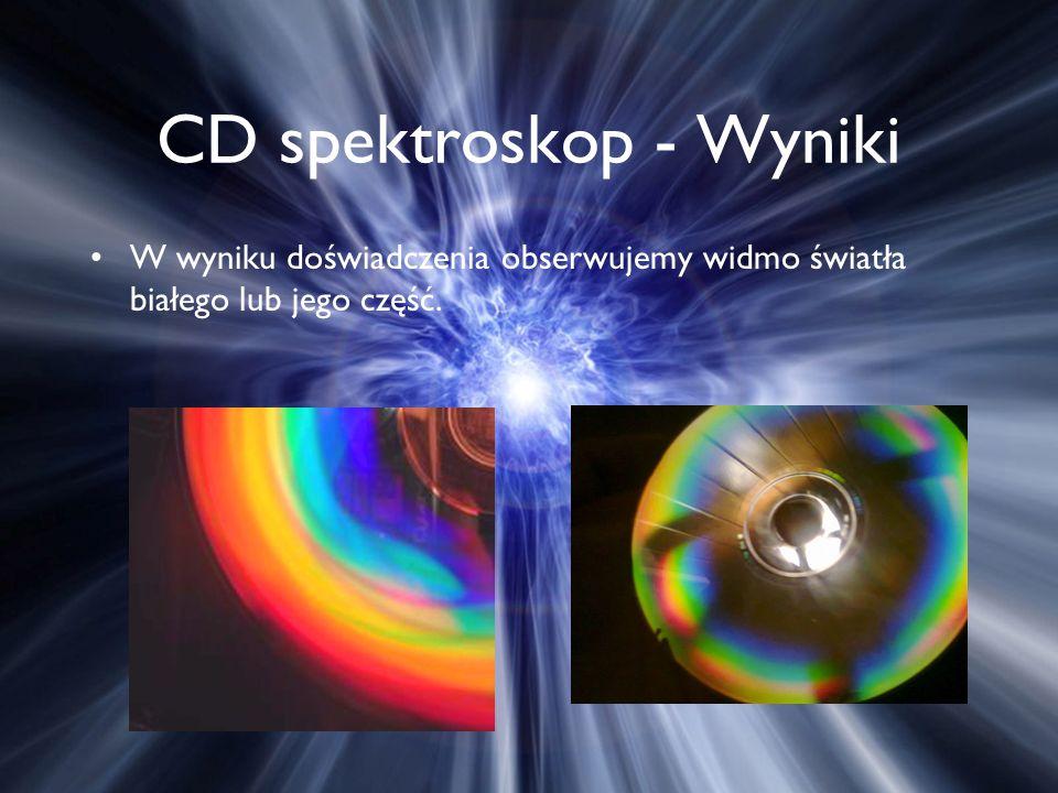 CD spektroskop - Wyniki W wyniku doświadczenia obserwujemy widmo światła białego lub jego część.