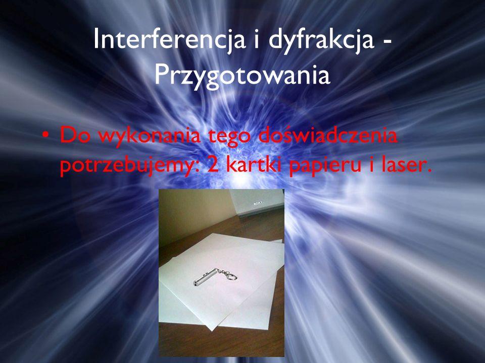 Interferencja i dyfrakcja - Przygotowania Do wykonania tego doświadczenia potrzebujemy: 2 kartki papieru i laser.