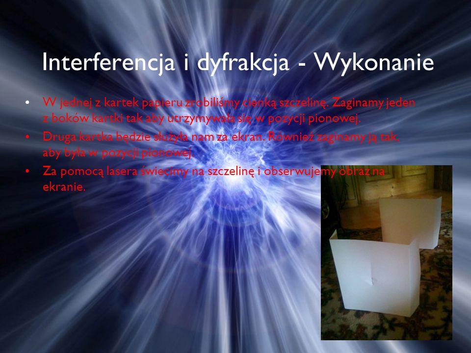 Interferencja i dyfrakcja - Wykonanie W jednej z kartek papieru zrobiliśmy cienką szczelinę.