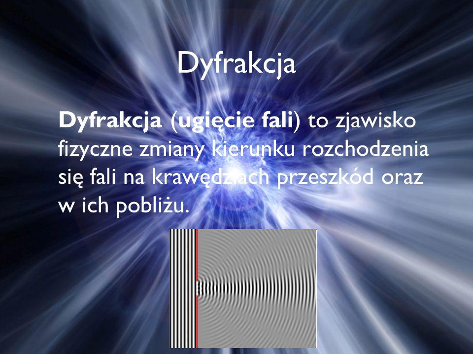 Dyfrakcja Dyfrakcja (ugięcie fali) to zjawisko fizyczne zmiany kierunku rozchodzenia się fali na krawędziach przeszkód oraz w ich pobliżu.