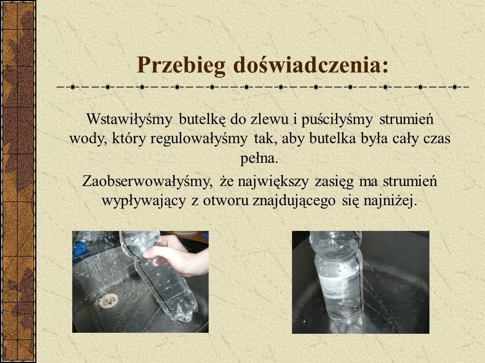Przebieg doświadczenia: Wstawiłyśmy butelkę do zlewu i puściłyśmy strumień wody, który regulowałyśmy tak, aby butelka była cały czas pełna. Zaobserwow