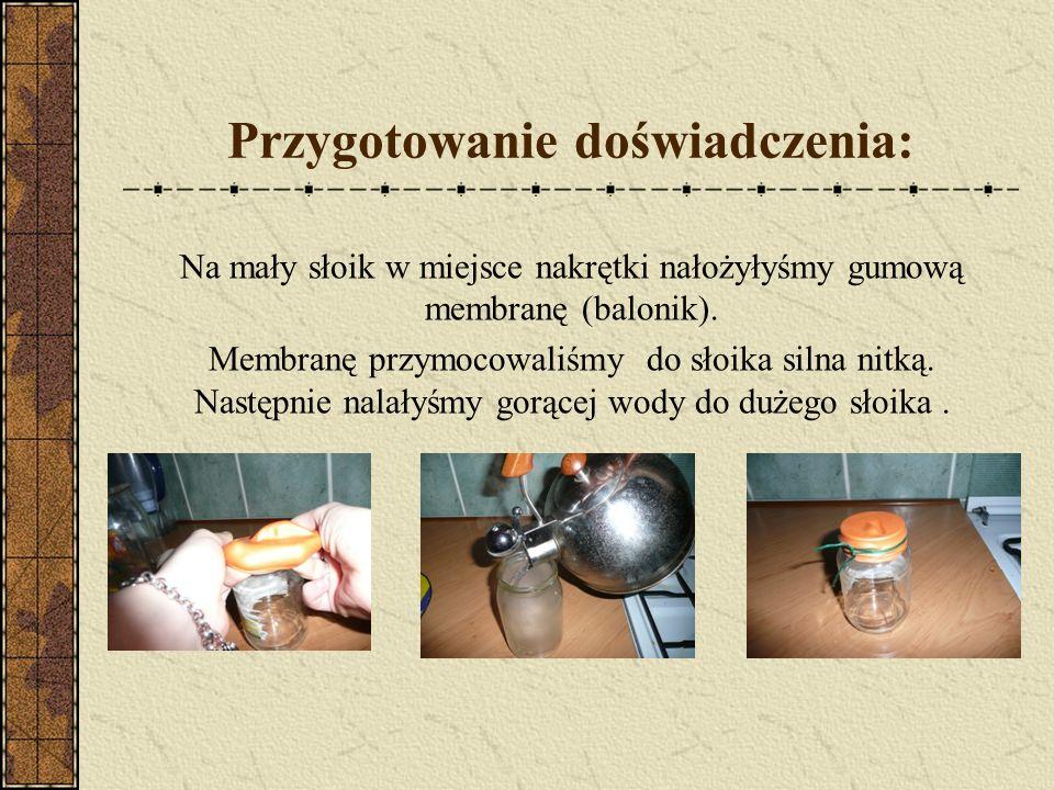 Przygotowanie doświadczenia: Na mały słoik w miejsce nakrętki nałożyłyśmy gumową membranę (balonik). Membranę przymocowaliśmy do słoika silna nitką. N