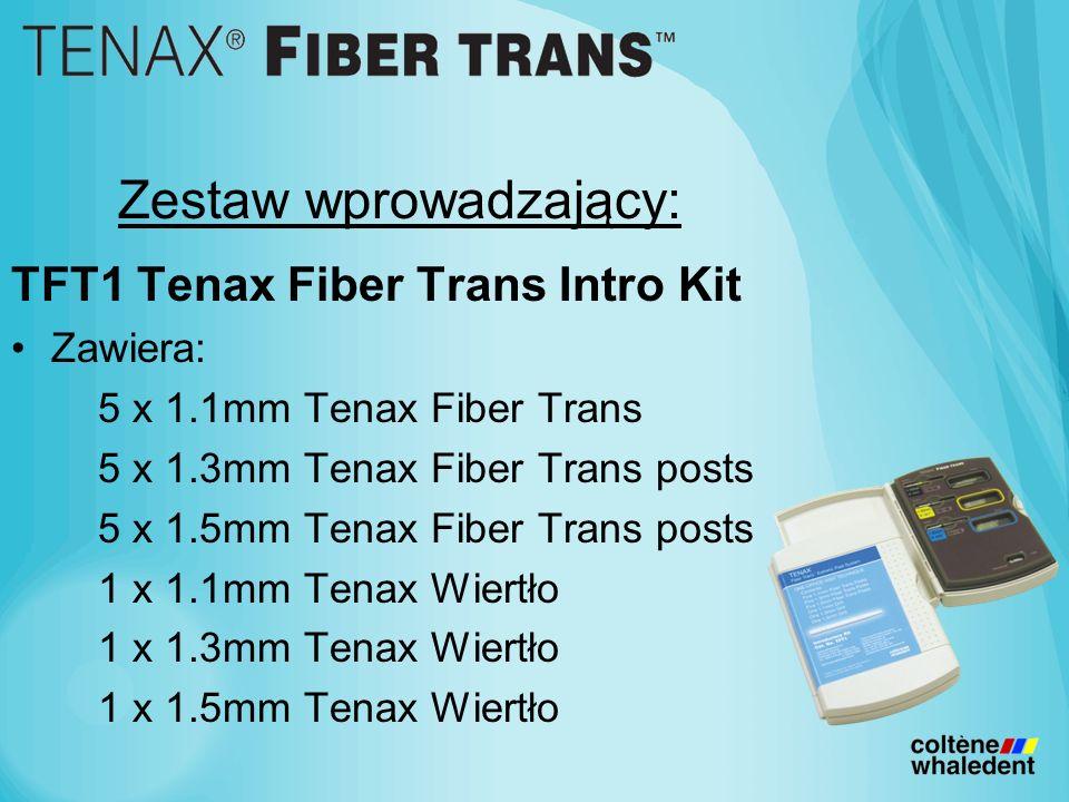 Zestaw wprowadzający: TFT1 Tenax Fiber Trans Intro Kit Zawiera: 5 x 1.1mm Tenax Fiber Trans 5 x 1.3mm Tenax Fiber Trans posts 5 x 1.5mm Tenax Fiber Trans posts 1 x 1.1mm Tenax Wiertło 1 x 1.3mm Tenax Wiertło 1 x 1.5mm Tenax Wiertło