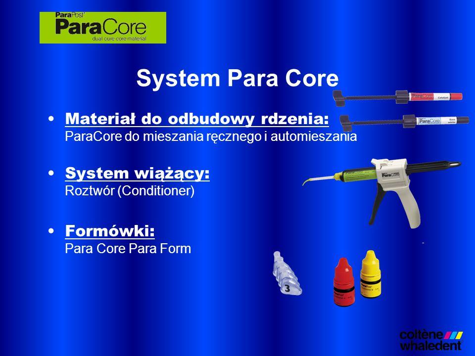 Materiał do odbudowy rdzenia: ParaCore do mieszania ręcznego i automieszania System wiążący: Roztwór (Conditioner) Formówki: Para Core Para Form Syste
