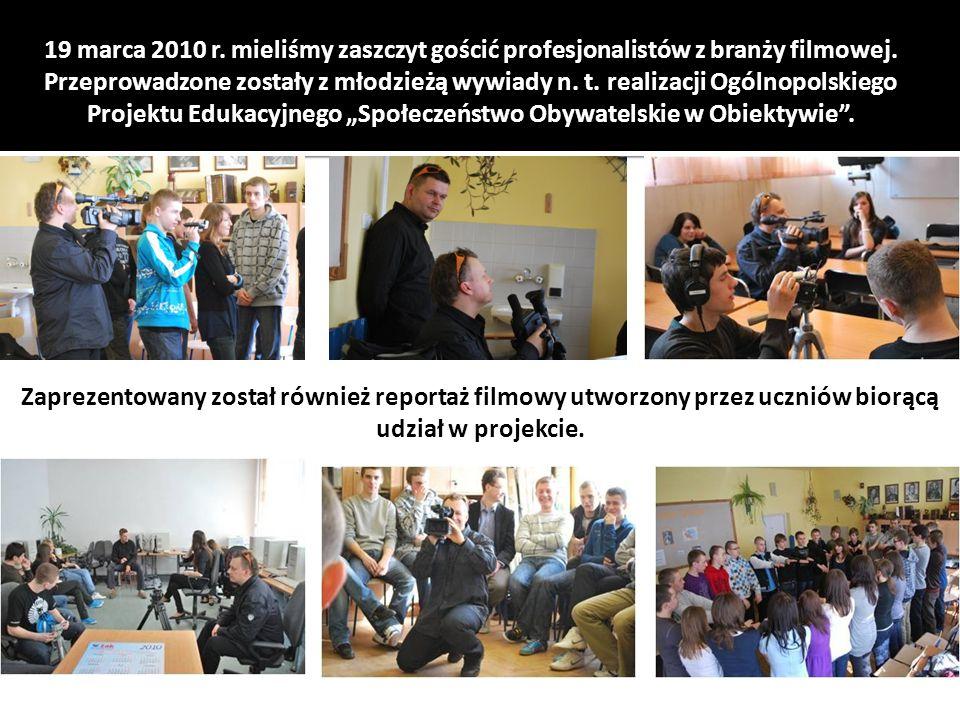 19 marca 2010 r. mieliśmy zaszczyt gościć profesjonalistów z branży filmowej.