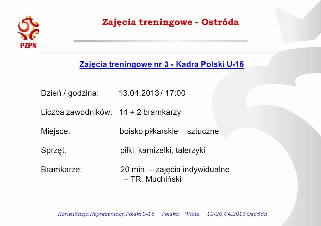 Konsultacja Reprezentacji Polski U-15 – Polska – Walia – 12-20.04.2013 Ostróda Zajęcia treningowe - Ostróda Zajęcia treningowe nr 3 - Kadra Polski U-1