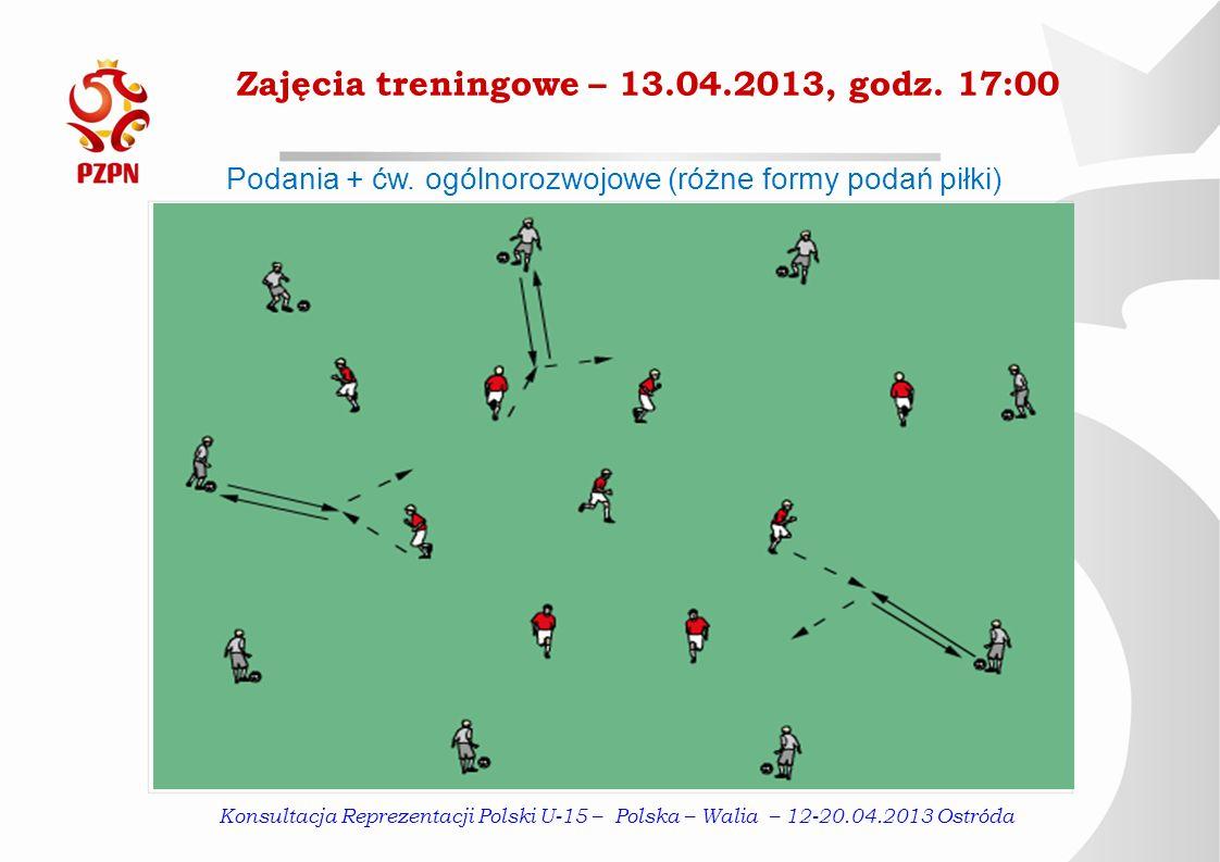 Zajęcia treningowe – 13.04.2013, godz. 17:00 Podania + ćw. ogólnorozwojowe (różne formy podań piłki) Konsultacja Reprezentacji Polski U-15 – Polska –