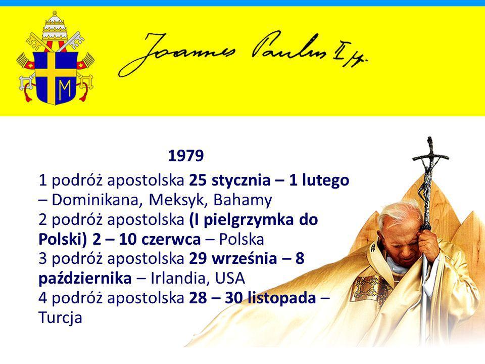 1980 5 podróż apostolska 2 – 12 maja – Zair, Kongo, Kenia, Ghana, Górna Wolta, Wybrzeże Kości Słoniowej 6 podróż apostolska 30 maja – 2 czerwca – Francja 7 podróż apostolska 30 czerwca – 12 lipca – Brazylia 8 podróż apostolska 15 – 19 listopada – Republika Federalna Niemiec