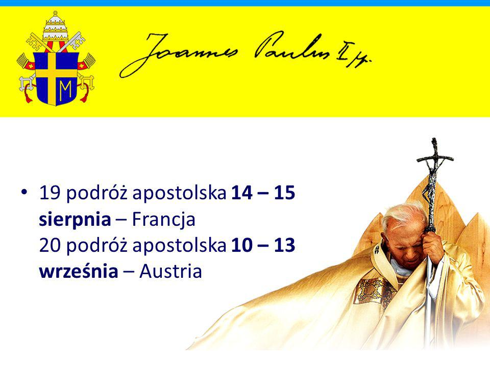 1995 63 podróż apostolska 11 – 21 stycznia – Filipiny, Papua-Nowa Gwinea, Australia, Sri Lanka 64 podróż apostolska (V pielgrzymka do Polski) 20 – 22 maja – Czechy, Polska 65 podróż apostolska 3 – 4 czerwca – Belgia
